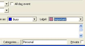 Outlook 2002 category and label