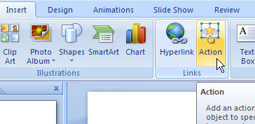 PowerPoint 2007 Insert an action