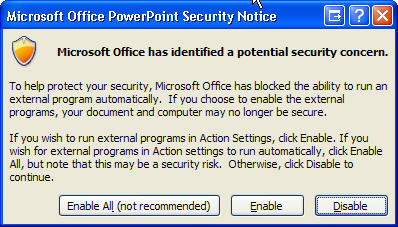 PowerPoint 2007 security warning when running an external  program