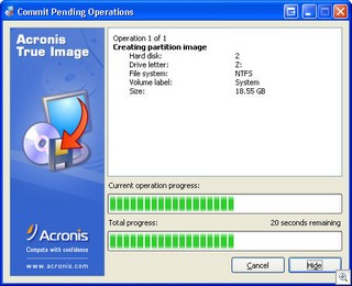 Acronis True Image - progress create image