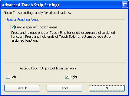 Intuos Touchstrip Advanced setup in Control Panel | Wacom Tablet Properties